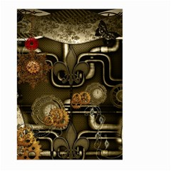 Wonderful Noble Steampunk Design, Clocks And Gears And Butterflies Large Garden Flag (two Sides) by FantasyWorld7