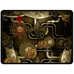 Wonderful Noble Steampunk Design, Clocks And Gears And Butterflies Double Sided Fleece Blanket (large)  by FantasyWorld7