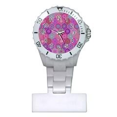 12 Geometric Hand Drawings Pattern Plastic Nurses Watch by Cveti