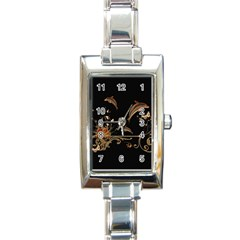 Wonderful Dolphins And Flowers, Golden Colors Rectangle Italian Charm Watch by FantasyWorld7