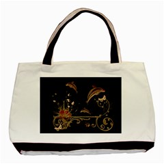 Wonderful Dolphins And Flowers, Golden Colors Basic Tote Bag by FantasyWorld7