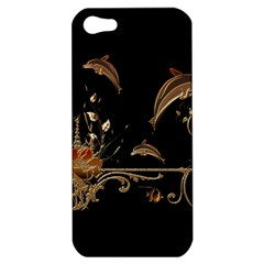 Wonderful Dolphins And Flowers, Golden Colors Apple Iphone 5 Hardshell Case by FantasyWorld7