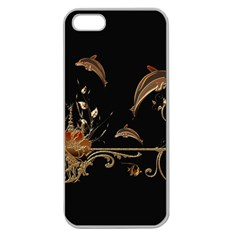 Wonderful Dolphins And Flowers, Golden Colors Apple Seamless Iphone 5 Case (clear) by FantasyWorld7