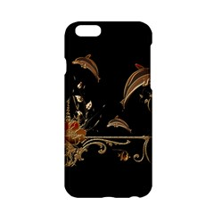 Wonderful Dolphins And Flowers, Golden Colors Apple Iphone 6/6s Hardshell Case by FantasyWorld7
