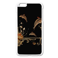 Wonderful Dolphins And Flowers, Golden Colors Apple Iphone 6 Plus/6s Plus Enamel White Case by FantasyWorld7
