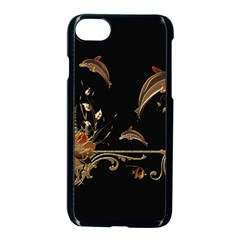 Wonderful Dolphins And Flowers, Golden Colors Apple Iphone 7 Seamless Case (black) by FantasyWorld7