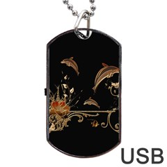 Wonderful Dolphins And Flowers, Golden Colors Dog Tag Usb Flash (one Side) by FantasyWorld7