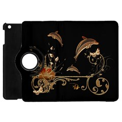 Wonderful Dolphins And Flowers, Golden Colors Apple Ipad Mini Flip 360 Case by FantasyWorld7