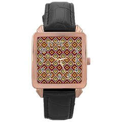 Native American Pattern 15 Rose Gold Leather Watch  by Cveti