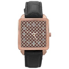 Native American Pattern 18 Rose Gold Leather Watch  by Cveti