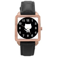 Logo Icon Github Rose Gold Leather Watch  by Celenk