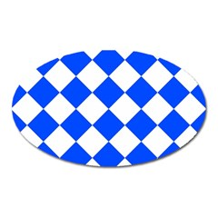 Blue White Diamonds Seamless Oval Magnet by Celenk