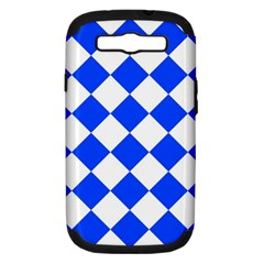 Blue White Diamonds Seamless Samsung Galaxy S Iii Hardshell Case (pc+silicone) by Celenk