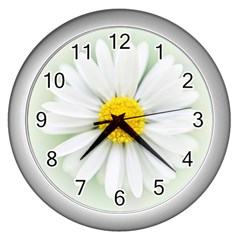 Art Daisy Flower Art Flower Deco Wall Clocks (silver)  by Celenk