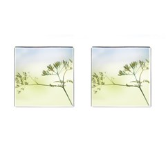 Spring Plant Nature Blue Green Cufflinks (square) by Celenk