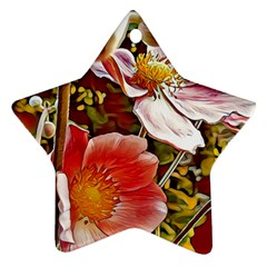 Flower Hostanamone Drawing Plant Star Ornament (two Sides) by Celenk