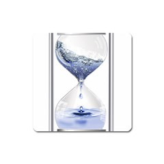 Time Water Movement Drop Of Water Square Magnet by Celenk