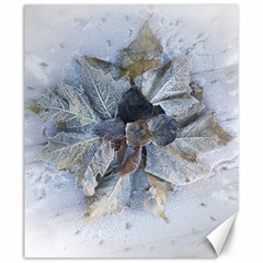 Winter Frost Ice Sheet Leaves Canvas 20  X 24   by Celenk