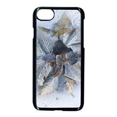 Winter Frost Ice Sheet Leaves Apple Iphone 7 Seamless Case (black) by Celenk