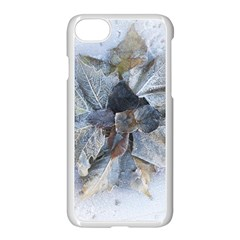 Winter Frost Ice Sheet Leaves Apple Iphone 7 Seamless Case (white) by Celenk