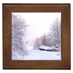 Winter Snow Ice Freezing Frozen Framed Tiles by Celenk