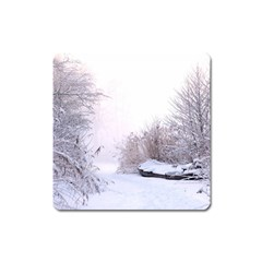 Winter Snow Ice Freezing Frozen Square Magnet by Celenk