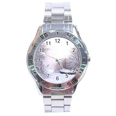 Winter Snow Ice Freezing Frozen Stainless Steel Analogue Watch by Celenk