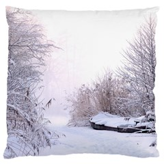 Winter Snow Ice Freezing Frozen Large Cushion Case (one Side) by Celenk