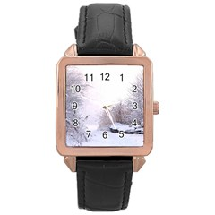Winter Snow Ice Freezing Frozen Rose Gold Leather Watch  by Celenk