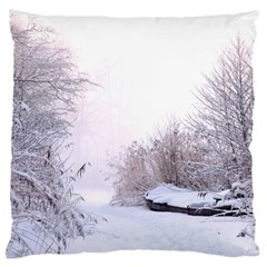 Winter Snow Ice Freezing Frozen Large Flano Cushion Case (one Side) by Celenk