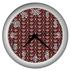 Native American Pattern 22 Wall Clocks (silver)  by Cveti