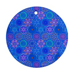 Geometric Hand Drawing Pattern Blue  Round Ornament (two Sides) by Cveti