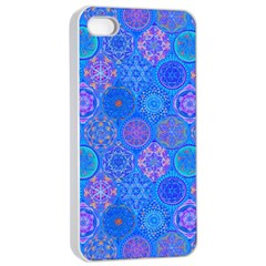 Geometric Hand Drawing Pattern Blue  Apple Iphone 4/4s Seamless Case (white) by Cveti