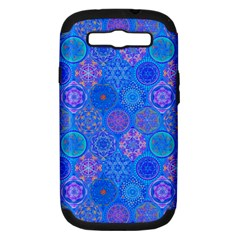 Geometric Hand Drawing Pattern Blue  Samsung Galaxy S Iii Hardshell Case (pc+silicone) by Cveti