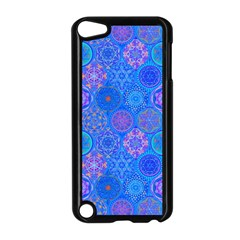 Geometric Hand Drawing Pattern Blue  Apple Ipod Touch 5 Case (black) by Cveti