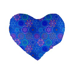 Geometric Hand Drawing Pattern Blue  Standard 16  Premium Flano Heart Shape Cushions by Cveti