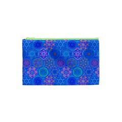 Geometric Hand Drawing Pattern Blue  Cosmetic Bag (xs) by Cveti