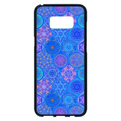 Geometric Hand Drawing Pattern Blue  Samsung Galaxy S8 Plus Black Seamless Case by Cveti