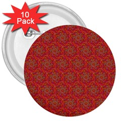 Whirligig Pattern Hand Drawing Orange 01 3  Buttons (10 Pack)  by Cveti