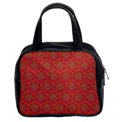 Whirligig Pattern Hand Drawing Orange 01 Classic Handbags (2 Sides) by Cveti