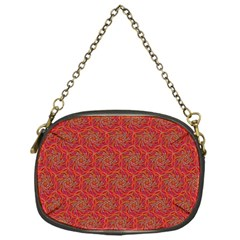 Whirligig Pattern Hand Drawing Orange 01 Chain Purses (one Side)  by Cveti