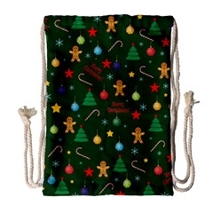 Christmas Pattern Drawstring Bag (large) by Valentinaart