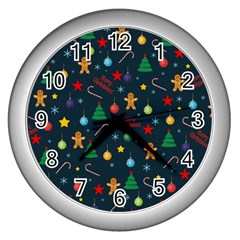 Christmas Pattern Wall Clocks (silver)  by Valentinaart