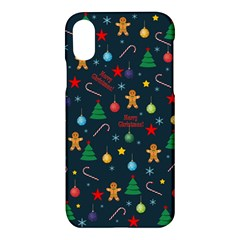 Christmas Pattern Apple Iphone X Hardshell Case by Valentinaart