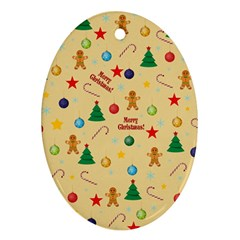 Christmas Pattern Oval Ornament (two Sides) by Valentinaart