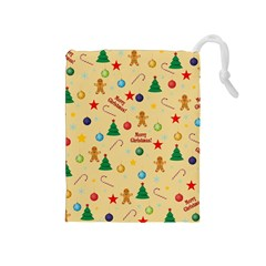 Christmas Pattern Drawstring Pouches (medium)  by Valentinaart