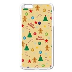 Christmas Pattern Apple Iphone 6 Plus/6s Plus Enamel White Case by Valentinaart