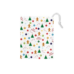 Christmas Pattern Drawstring Pouches (small)  by Valentinaart