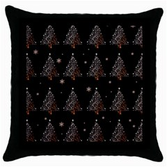Christmas Tree   Pattern Throw Pillow Case (black) by Valentinaart