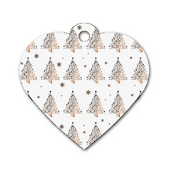 Christmas Tree   Pattern Dog Tag Heart (one Side) by Valentinaart